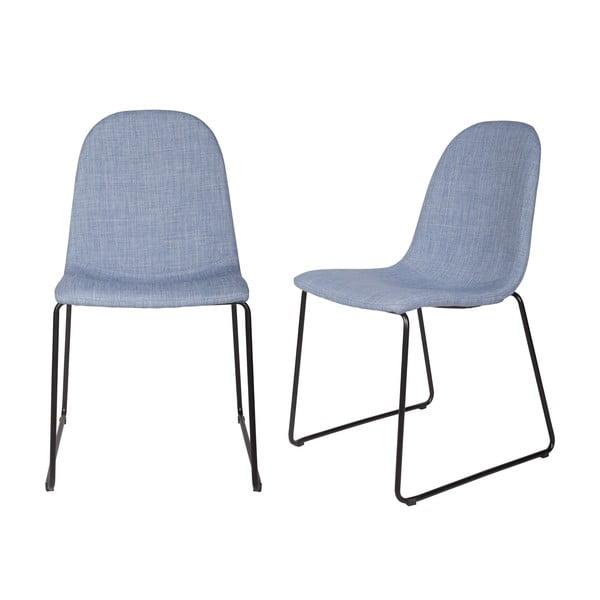 Sada 2 modrých jídelních židlí Copper Light Blue