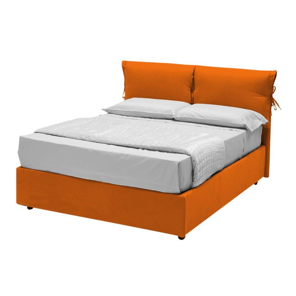 Oranžová jednolůžková postel s úložným prostorem 13Casa Iris, 120 x 190 cm