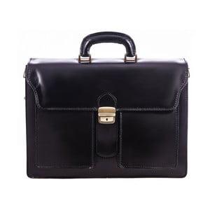 Černá kožená taška Chicca Borse Fabio
