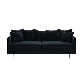 Canapea cu tapițerie din catifea Ghado Esme, 214 cm, albastru închis