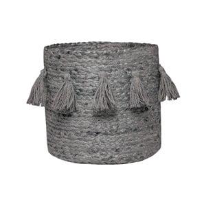 Šedý ručně tkaný box z konopného vlákna Nattiot, Ø 30 cm