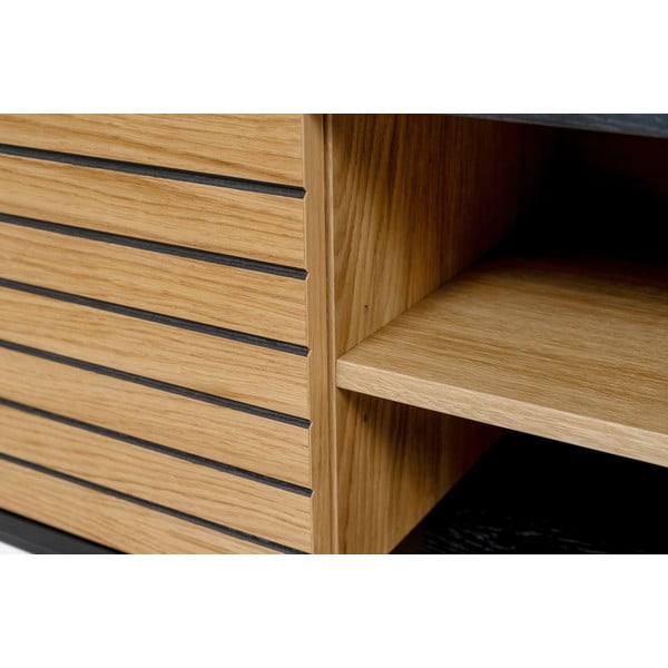 Masă TV din lemn de stejar Woodman Stripe