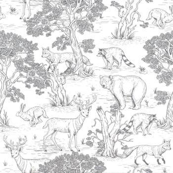 Tapet cu model cu animale de pădure Dekornik Animals imagine