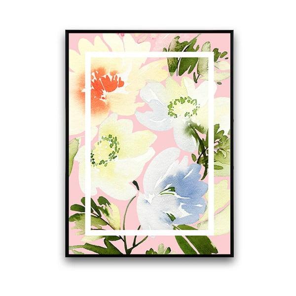 Plakát s květinami, světle růžové pozadí, 30 x 40 cm