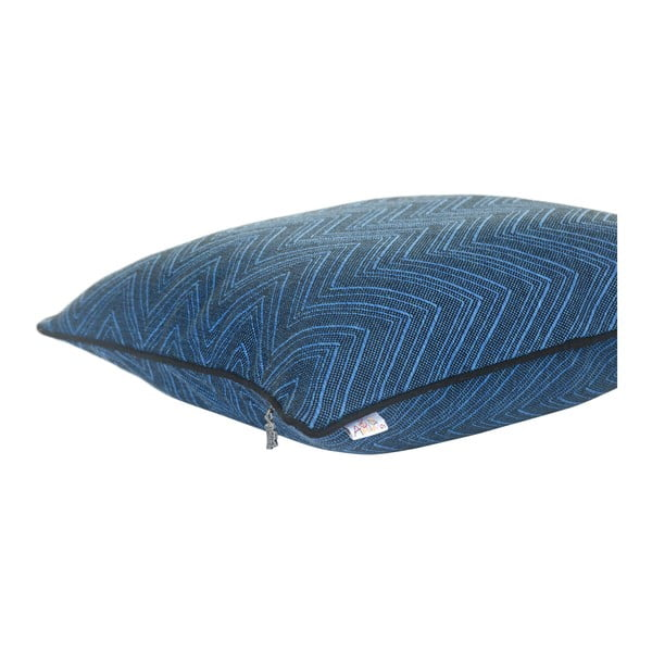 Modrý žakárový povlak na polštář Apolena Malkin, 43 x 43 cm