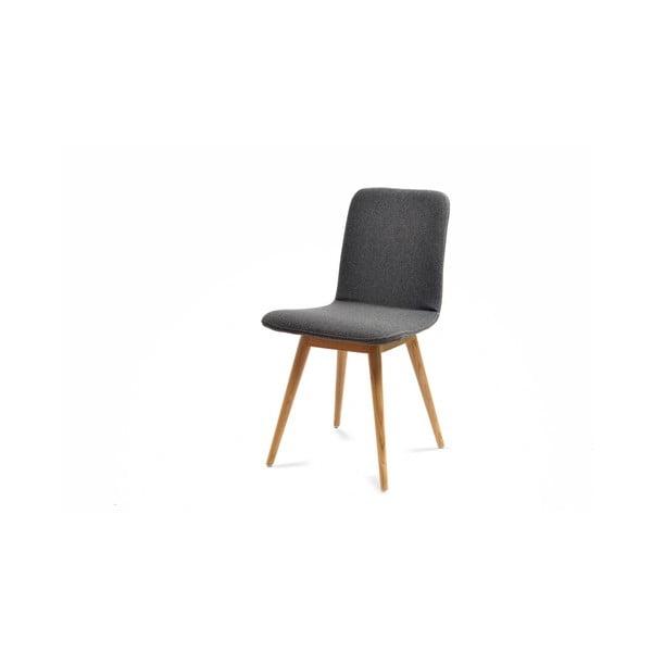 Šedá židle z dubového dřeva Gazzda Ena