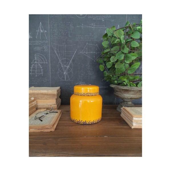 Żółty pojemnik ceramiczny Orchidea Milano Potiche, wys. 16 cm