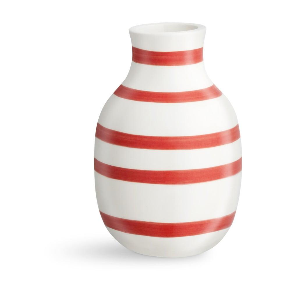 Bílo-červená pruhovaná keramická váza Kähler Design Omaggio, výška12,5cm