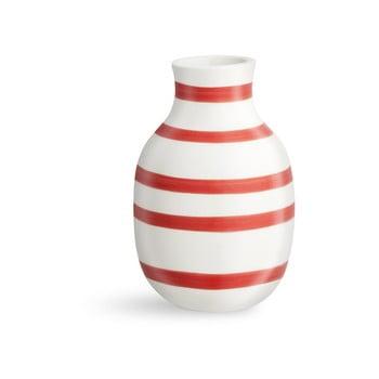 Vază din ceramică Kähler Design Omaggio, înălțime 12,5 cm, alb-roșu
