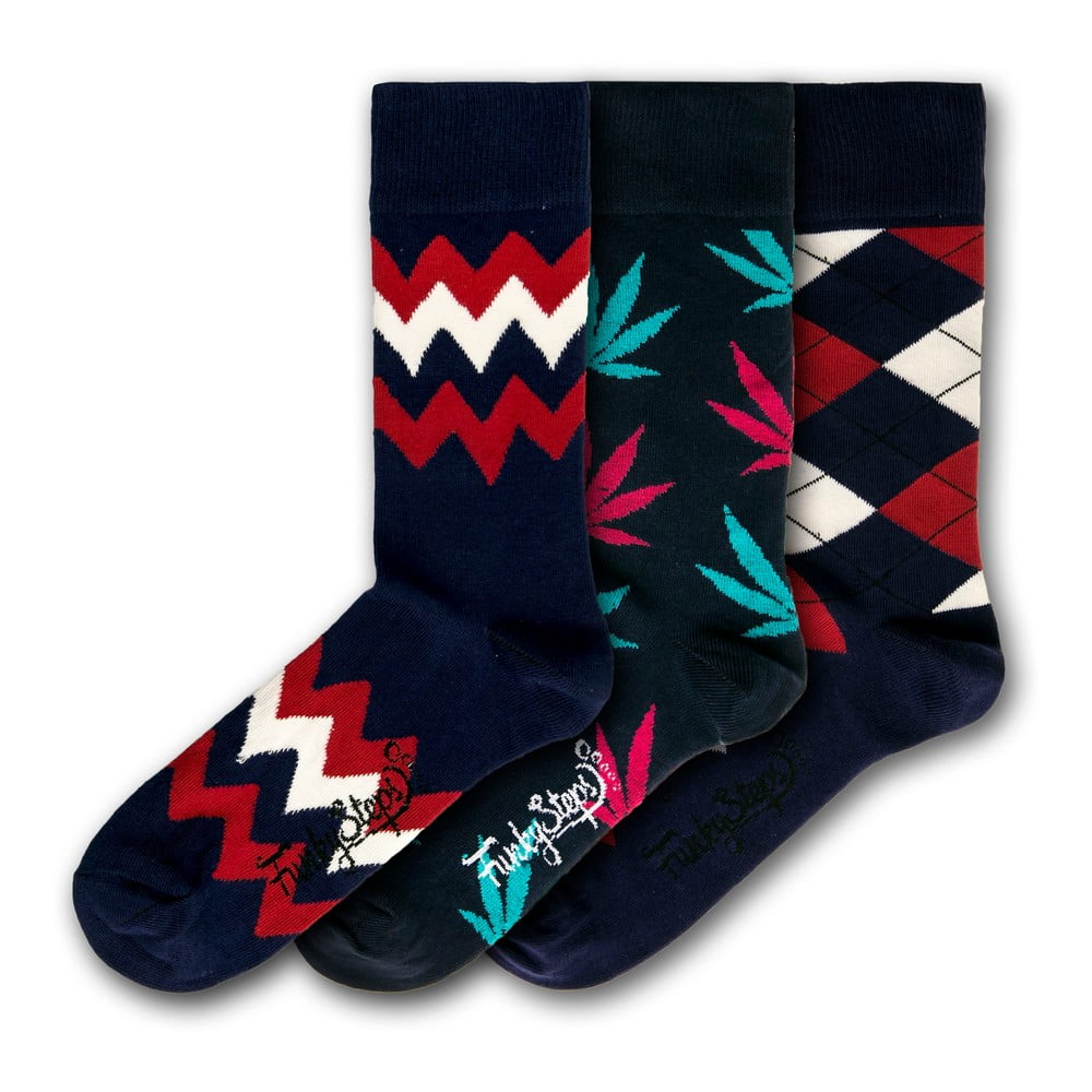 Sada 3 párů pánských ponožek Funky Steps Dark Mix, velikost 41 - 45