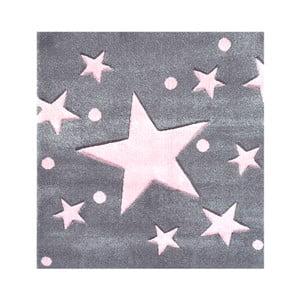 Šedorůžový dětský koberec Happy Rugs Star Constellation, 140x140cm