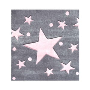 Covor pentru copii Happy Rugs Star Constellation, 140x140 cm, gri - roz