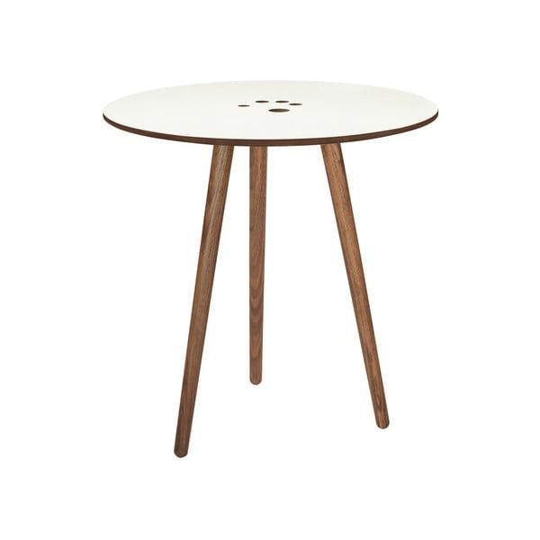 Handy fehér tárolóasztal sötétbarna lábak, ⌀ 50 cm - WOOD AND VISION