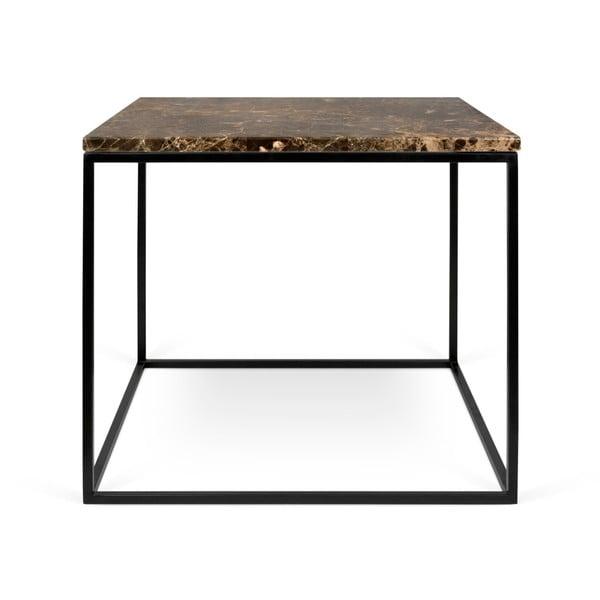 Hnědý mramorový konferenční stolek s černými nohami TemaHome Gleam, 50 x 50 cm