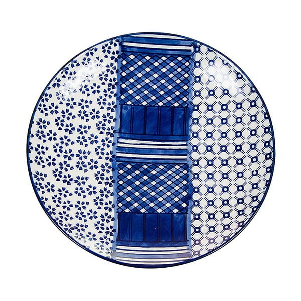 Farfurie din porțelan Santiago Pons Meknec, ⌀ 20 cm, alb - albastru