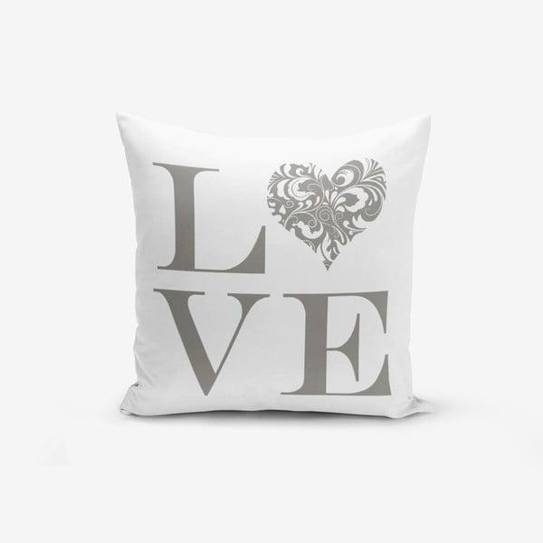 Poszewka na poduszkę z domieszką bawełny Minimalist Cushion Covers Love Grey, 45x45 cm
