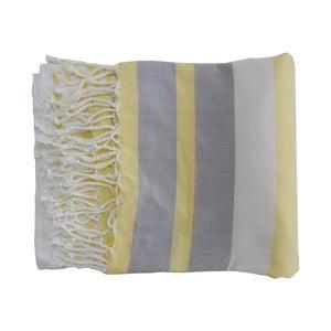 Žluto-šedá ručně tkaná osuška z prémiové bavlny Homemania Rio Hammam,100x180 cm