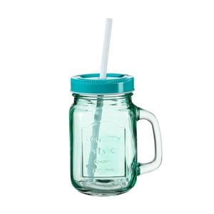 Tyrkysová sklenice s víčkem a brčkem SUMMER FUN II, 450ml