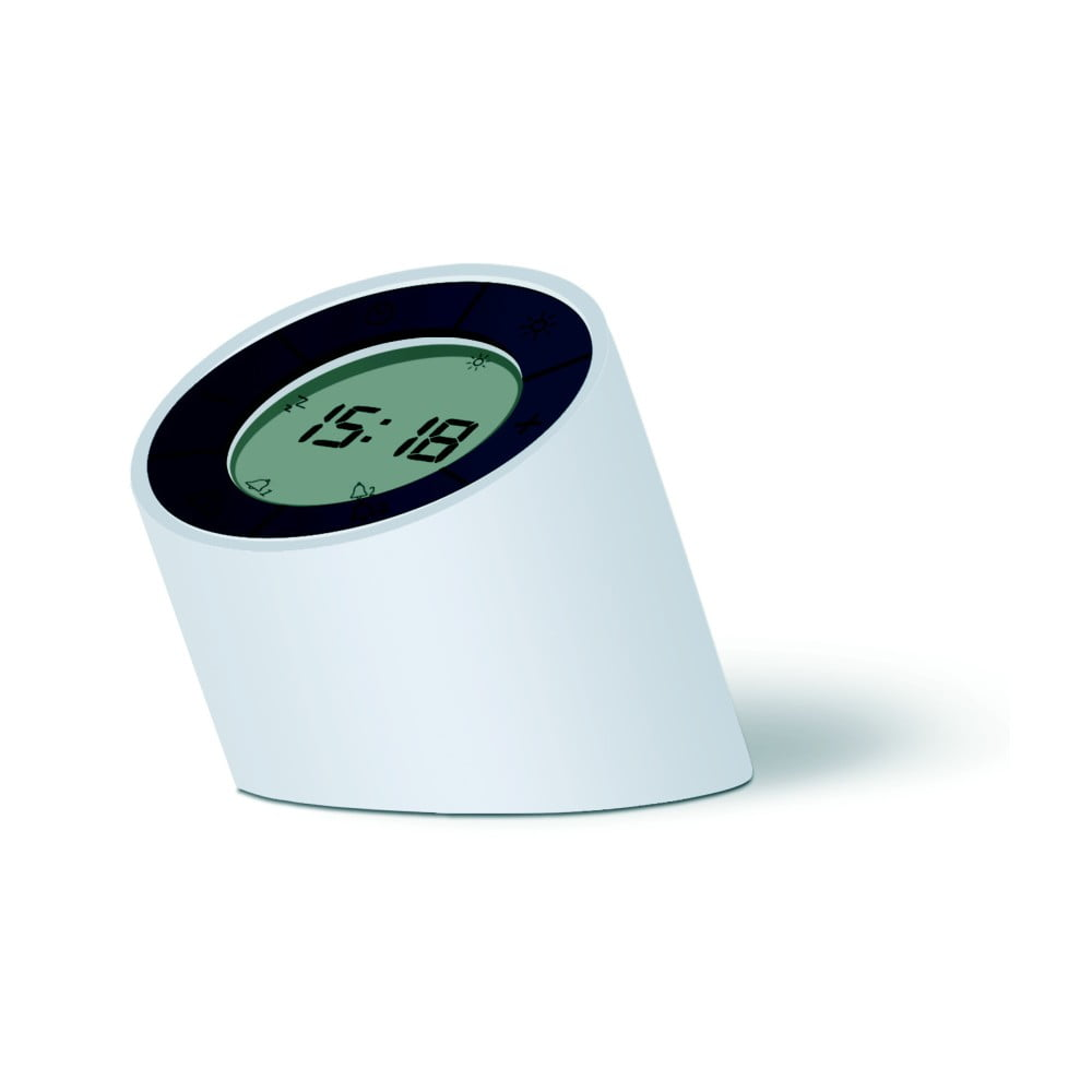 Bílý budík s LED displejem Gingko Edge