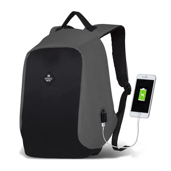 Černo-šedý batoh s USB portem My Valice SECRET Smart Bag