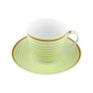 Porcelánový šálek s podšálkem Lines, zelený 4 ks