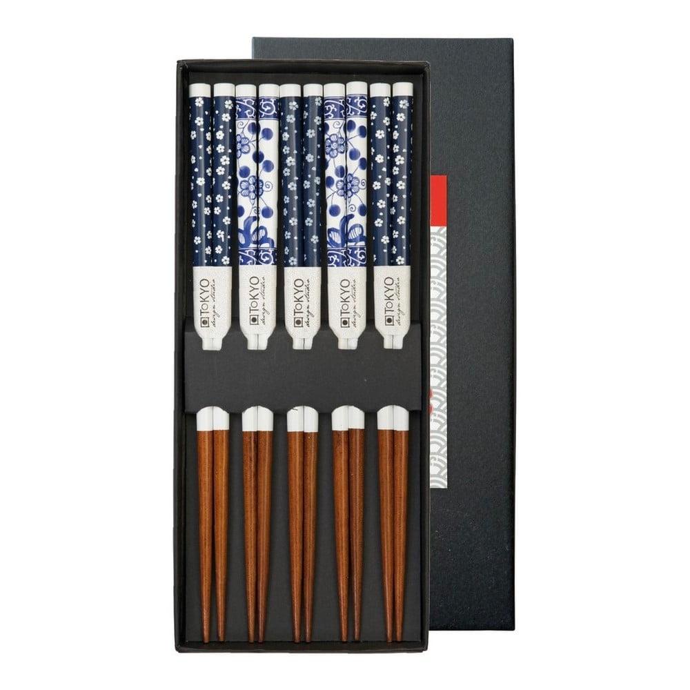 Sada 5 párů čínských hůlek z bambusu Tokyo Design Studio Flower, délka 21,5cm
