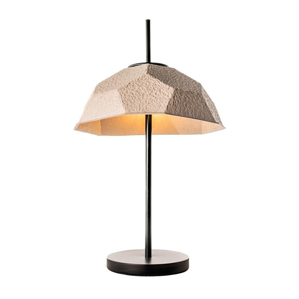 Hnědošedá stolní lampa se stínidlem z recyklovaného papíru Design Twist Mosen