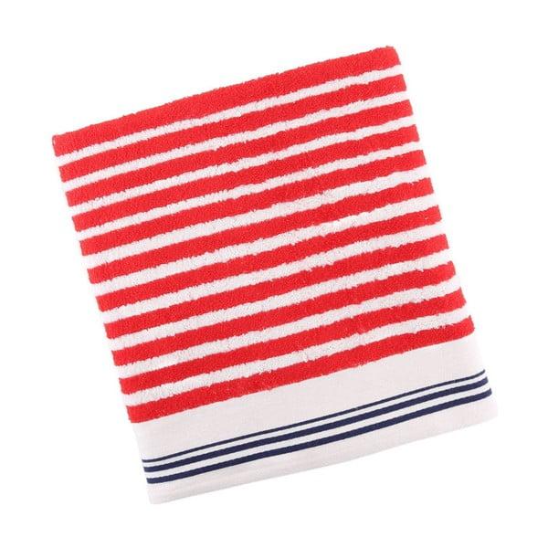 Červeno-bílá bavlněná osuška BHCP Velvet, 80x150 cm