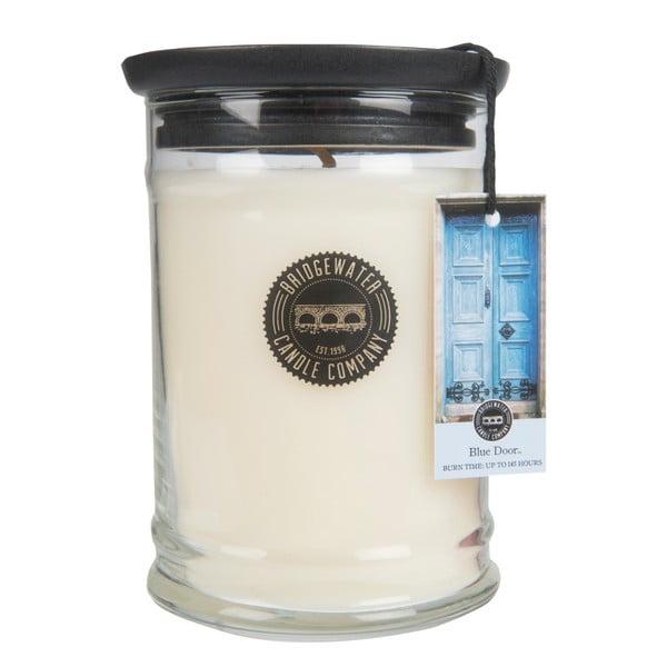 Velká svíčka ve skle s vůní mandarinky Bridgewater candle Company Sweet Blue Door, doba hoření 125-145hodin