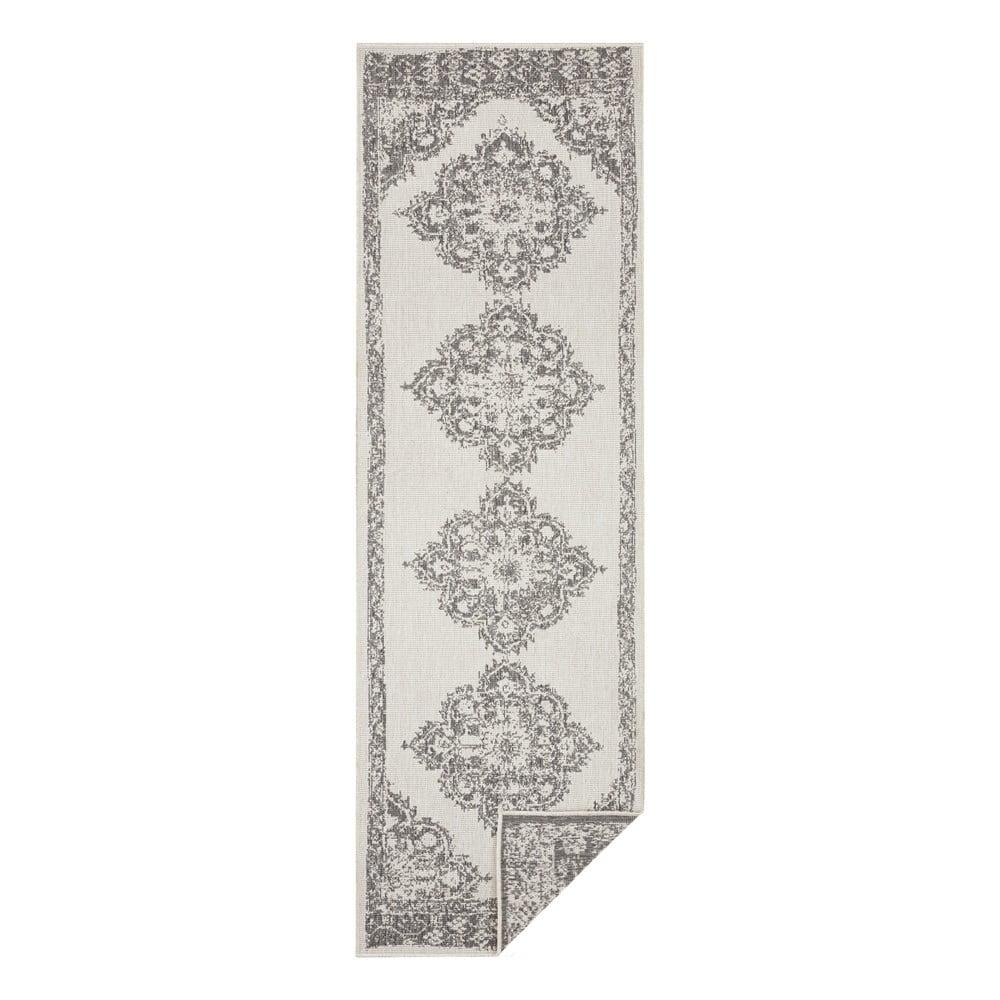 Šedo-krémový venkovní koberec Bougari Cofete, 80 x 350 cm