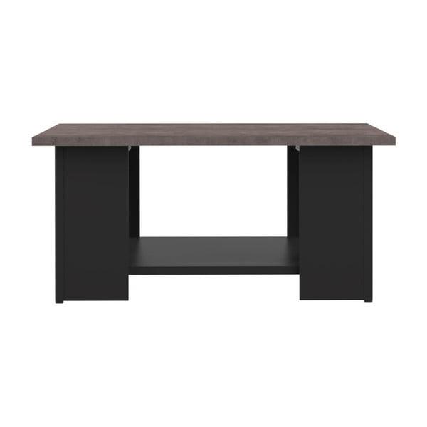Černý konferenční stolek s deskou v dekoru betonu Symbiosis Square, 89x67cm