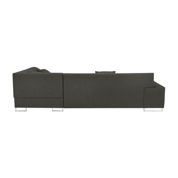 Tmavě šedá rohová rozkládací pohovka s nohami ve stříbrné barvě Cosmopolitan Design Orlando, levý roh