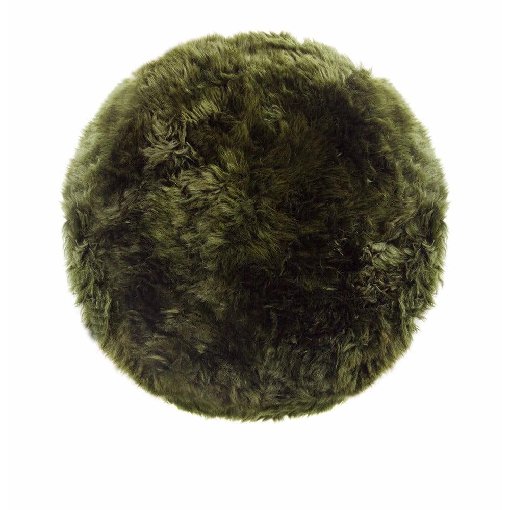 Tmavě zelený koberec z ovčí kožešiny Royal Dream Zealand, ⌀ 70 cm
