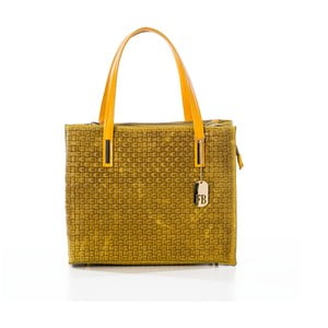 Hořčicová kabelka z pravé kůže Federica Bassi Samia