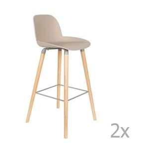 Set 2 scaune bar Zuiver Albert Kuip, înălțime scaun 75cm, bej - gri