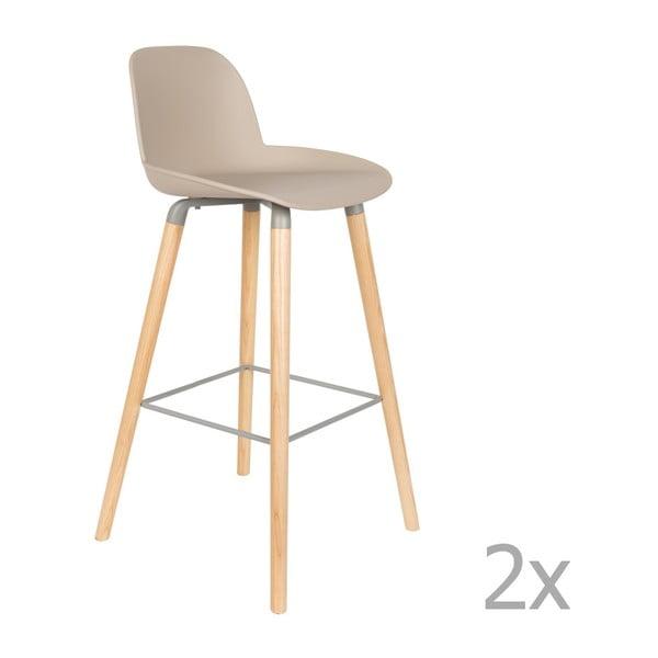 Sada 2 béžovošedých barových židlí Zuiver Albert Kuip, výška sedu 75cm
