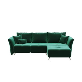 Canapea extensibilă cu șezlong pe partea dreaptă Hermes verde închis