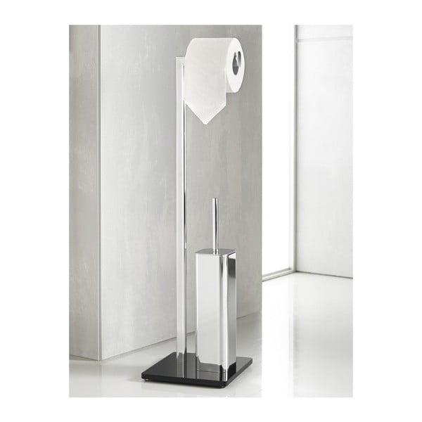 Stojan na toaletní papír s WC kartáčem Empire Silver/Black