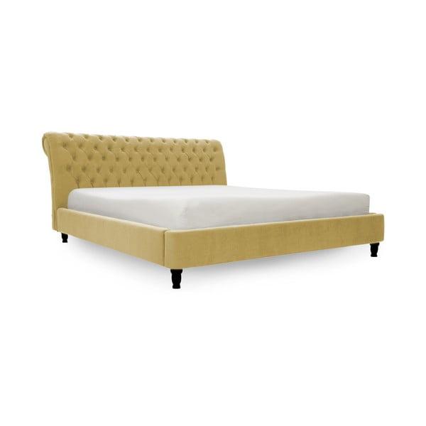 Žltá posteľ s čiernymi nohami Vivonita Allon, 180 × 200 cm