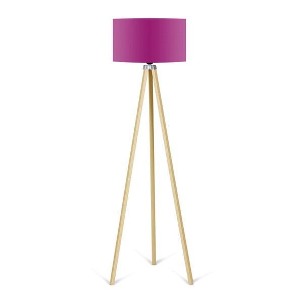 Lampa stojąca z fioletowym abażurem Kate Louise Naturel
