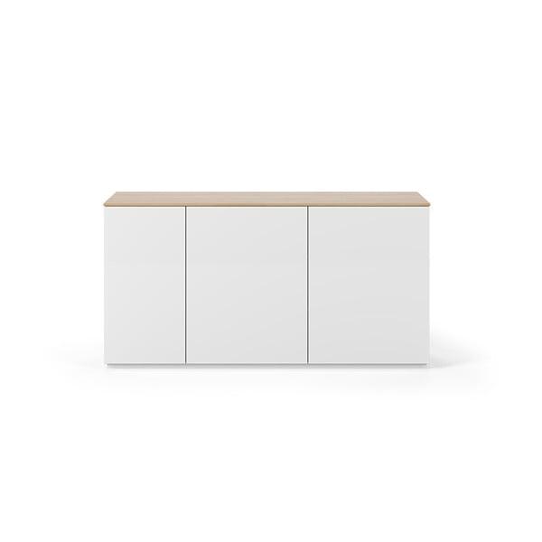 Bílá komoda s deskou v dekoru dubu se 3 dveřmi TemaHome Join, šířka 160 cm