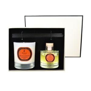 Dárková sada svíčky a difuzéru Aromatherapy, vůně pomeranče a hřebíčku