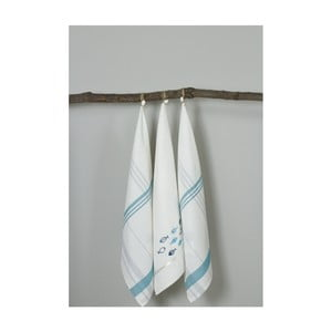 Sada 3 bílo-modrých kuchyňských utěrek My Home Plus Fish, 50 x 70 cm