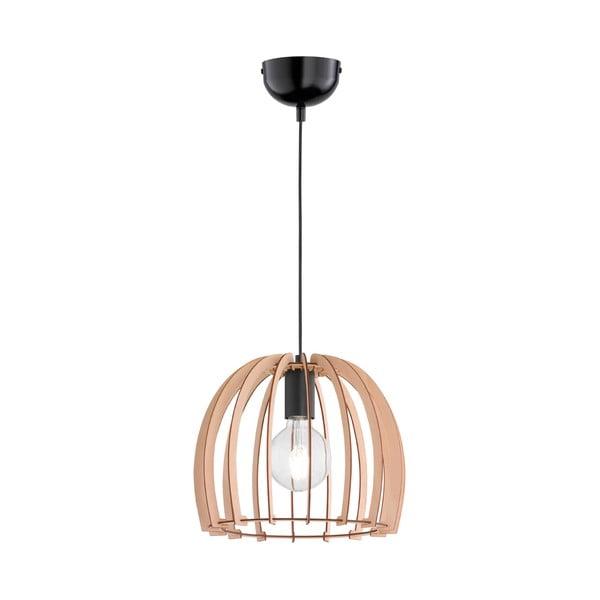 Béžové závěsné svítidlo ze dřeva a kovu Trio Pendant Wood, výška 150 cm
