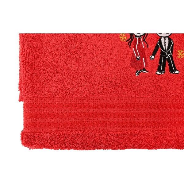 Sada 2 červených bavlněných osušek Cift Red, 70 x 140 cm