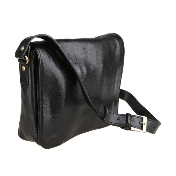Czarna torba skórzana z paskiem na ramię Chicca Borse Norma