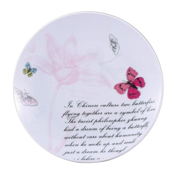 Dezertní porcelánový talíř Bergner Pink Butterfly, 19 cm