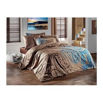 Lenjerie de pat din bumbac satinat și cearșaf Sal Brown, 200 x 220 cm