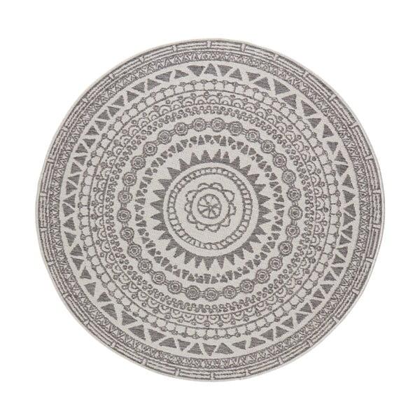 Szaro-kremowy dywan odpowiedni na zewnątrz Bougari Coron, ø 200 cm