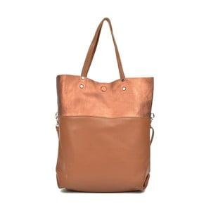 Koňakově hnědá kožená kabelka Carla Ferreri Muserro